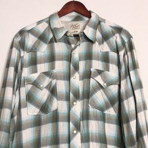 Lucky Brand Cotton Pearl Buttons Western Shirt XL